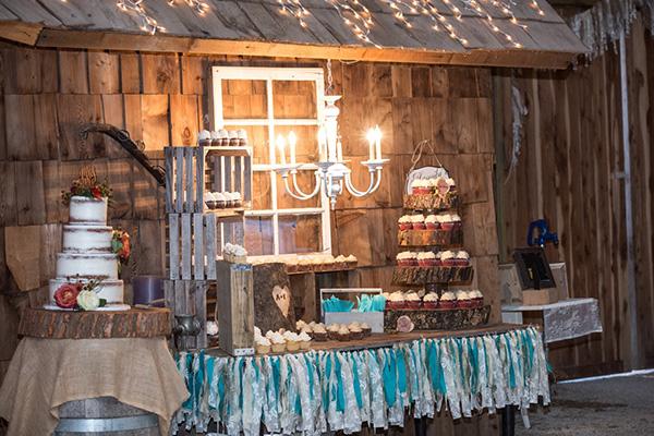 Rustic Wooden Naked Cake Blue Owl Wedding Dessert Buffet